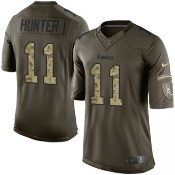 Youth Pittsburgh Steelers Justin Hunter Green Limited Salute to Service Jersey By Nike